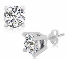 14K Hallmarked White Gold 2.00 Ct Man Made Diamond Stud Earrings Round Shape