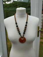 Wooden Bead Statement Chunky Pendant Necklace Brown Boho Festival - Pre-Owned