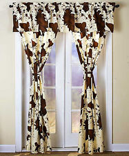 5-PC WINDOW CURTAIN PANEL VALANCE SET RODEO COWHIDE WESTERN COWBOY HOME DECOR