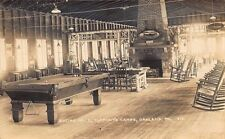 Oakland ME Social Hall Pool Table Clement's Camps RPPC Postcard