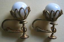 Vintage Signed Miriam Haskell Stud Earrings White Milk Glass Gold Pl. Filigree