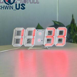 Large 3D Modern Digital LED Wall Clock 24/12 Hour USB Display Timer Alarm Home
