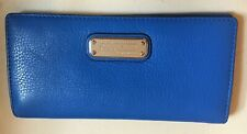 MARC by MARC JACOBS Bifold Clutch Wallet Blue Leather Snap Coin Purse Silver