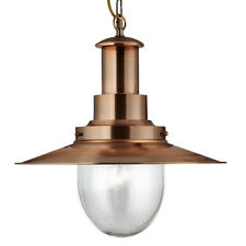 Searchlight 5301CU Fisherman Copper Ceiling Light With Oval Seeded Glass Shade