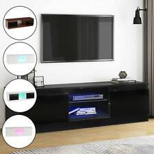 Modern TV Unit Cabinet Stand High Gloss Doors 120cm with LED Lights Drawers