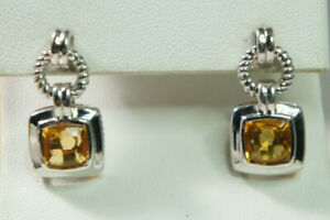 David Yurman 925 Silver GOLD Citrine Renaissance Drop 585 Post Dangle Earrings