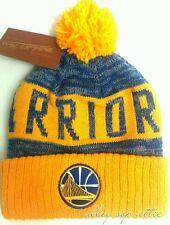 Golden State Warriors Mitchell & Ness Jacquard Stripe Knit Pom Beanie Hat Cap