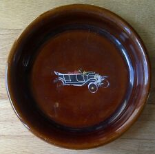 Vintage Denby Stoneware Brown Glazed Pottery Pin Dish with Vintage Car Design