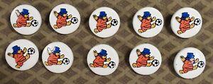 """10 Vtg 1990s JHB International Plastic BUTTONS Paddington Bear Soccer Ball 3/4"""""""