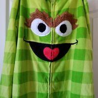 Sesame Street XL Oscar the Grouch 15 17 Hooded Sleepwear Pajamas No Feet Juniors