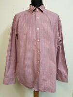 MENS AUSTIN REED RED BLUE WHITE STRIPED L/SLEEVE SHIRT UK XL EU 54