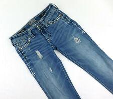 Affliction Black Premium Jade Bootcut Flap Studded Distressed Jeans 25 x 31