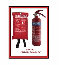 2KG DRY POWDER FIRE EXTINGUISHER WITH FIRE BLANKET HOME KITCHEN +WALL BRACKET CE