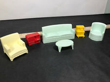 Vtg Dollhouse Furniture Living Room Set Couch & chairs record player end plant