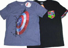 Captain America Polyester Short Sleeve T-Shirts for Men