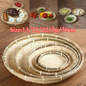 Handmade Weaving Bamboo Sieve Round Storage DIY Decorative Fruit Bread Basket