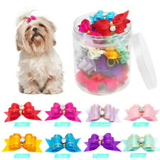 20pcs Rhinestones Dog Grooming Hair Bows Rubber Band Pet Cat Headdress Accessory