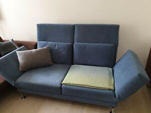 Brühl & Sippold Moule Alcantara Sofa blau Zweisitzer Relaxfunktion