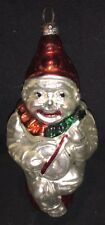Vintage Clown On Stump Playing Banjo Glass Ornament
