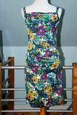 Suzi Chin for Maggy Boutique Floral Print Ruched Dress Sleeveless Dress - Size 6