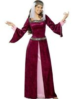 NEW Maid Marion Burgundy Gothic Medieval Renaissance Tudor Ladies Fancy Dress