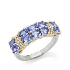 VICTORIA WIECK 1.24CT TANZANITE AND TOPAZ 2-TONE STERLING SILVER RING SIZE 6 HSN