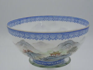 ANTIQUE APOCRYPHAL MARK CHINESE EGGSHELL PORCELAIN BOWL CONTINUOUS GARDEN SCENE
