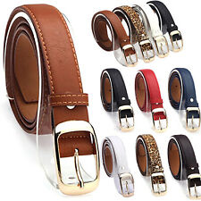 Ladies PU Leather Buckle Belts Fashion Casual Jeans Dress Waistband Waist Strap