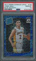 2017 Donruss Optic Lonzo Ball Rookie Blue Velocity Prizm Holo PSA 10 Lakers #199