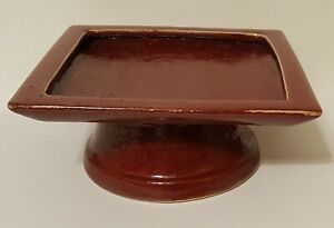 Vintage Pottery Barn Burgundy Red Palermo Large Ceramic Pedestal Candle Tray