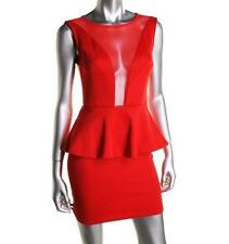 PAPER HEART ~ NEW $188 SEXY RED LOW MESH FRONT COCKTAIL DRESS STRETCH SZ 8 NWT