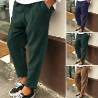 Mens Corduroy Trousers Drawstring Elastic Waist Formal Smart Cord Casual Pants