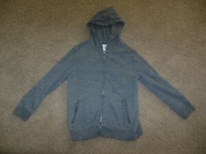 CAT & JACK Boys HOODIE size 6-7 Small gray zipper front pockets
