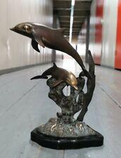 More details for vintage bronze statue sculpture 2 dolphins seas scape dolphins vintage