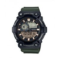 Casio Men's Quartz Super Illuminator Green Resin Band 51mm Watch AEQ200W-3AV