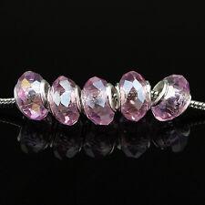 5Pcs Facet Crystal Glass Rondelle Silver Charm Beads for European Bracelet