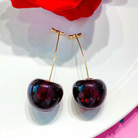 Fashion Cherries 18k Yellow Gold Plated Drop Women Earrings Crystal A Pair/set