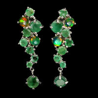 Unheated Round Emerald Fire Opal White Gold Plate 925 Sterling Silver Earrings
