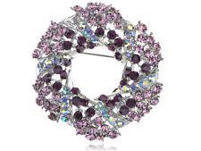 Women Purple Crystal Rhinestone Fashion Reef Wreath Winter Pin Brooch gift
