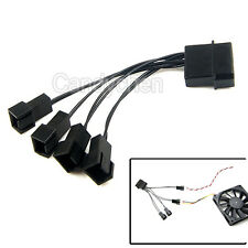 12V Black Molex To 4 Way 3 Pin Computer Power Multi Fan Splitter Adapter Cable