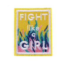 """""""Fight Like A Girl"""" Letter Embroidered Patch Iron Sew On Applique 2.1""""X2.7"""""""