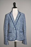 TALBOTS NEW $159 Blue Cotton Tweed Structured Blazer Jacket Size 2