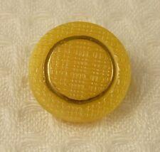 1 x YELLOW & GOLD PRESSED CZECH GLASS BUTTON ~ 18mm ~ AUSSIE SELLER ~ SEWING ~
