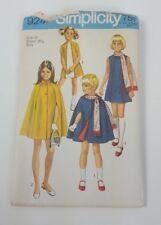 Vintage 70s Simplicity 9247 Dress Cape Fringe Trim Scarf Sewing Pattern Girl
