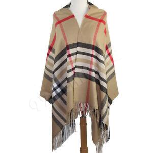 Oversized Plaid Check Blanket 100% Cashmere Scarf Shawl Wrap Warm Winter Scarves