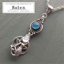 Mermaid Siren & Pentagram Blue Chalcedony & Rainbow Moonstone Pendant Wicca