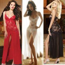 Women Sexy Lace Long Dress Babydoll Thong Sleepwear Underwear G-String Lingerie