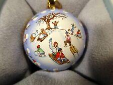 Mib 2007 Halcyon Days Christmas Sphere Ball Ornament Skaters Trinket Box Le