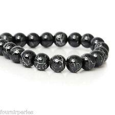 1 Enfilade Perles intercalaire Rond Hématite Noir Accessoir 8mm