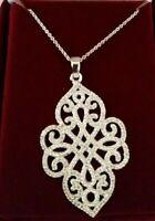 Stella & Dot Delicate Quatrefoil Filigree Pendant Necklace in Icy Silver Sparkle